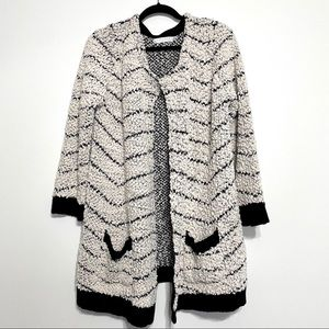 Solitaire White & Black Open Front Cardigan